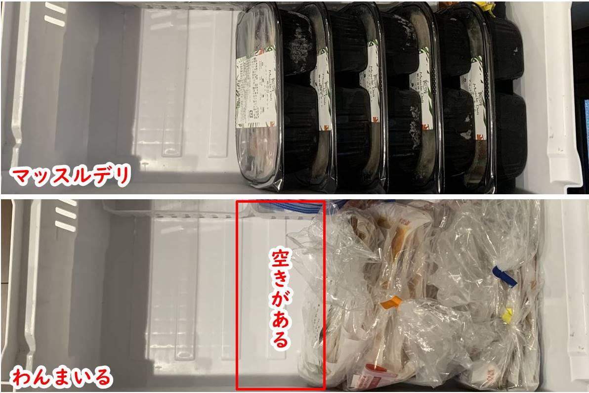 わんまいるとマッスルデリの冷凍室容量比較